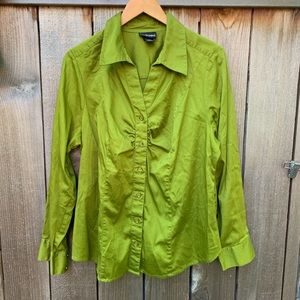 Lane Bryant   Green Button Up Blouse Top